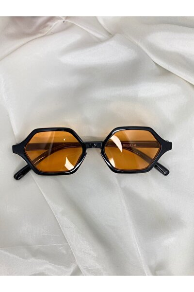 Altıgen Vintage Turuncu Siyah Unisex Güneş Gözlüğü