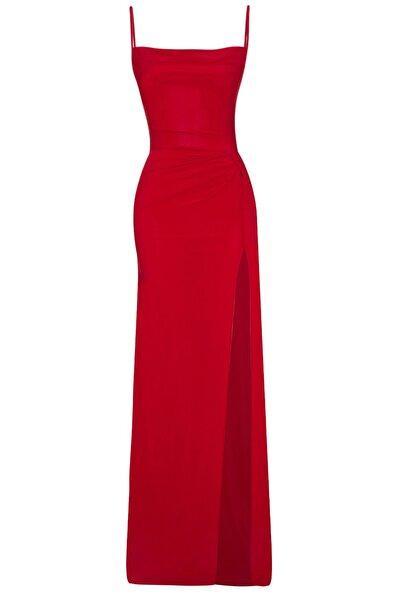 Kırmızı Derin Yırtmaçlı Drapeli Uzun Abiye Elbise