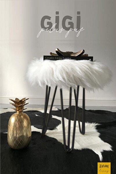 Gigi Beyaz Peluş Siyah Ayaklı Puf
