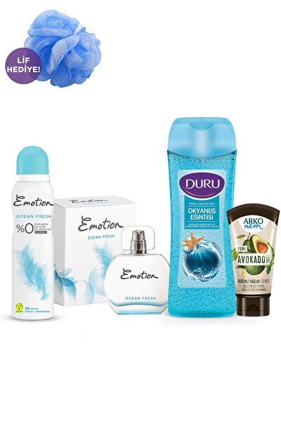 Kadın Parfüm + Deodorant + Duru Duş Jeli + Arko Nem Krem + Duş Lifi