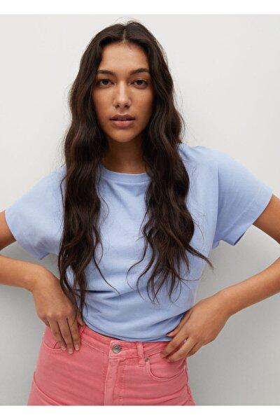 Kadın Gök Mavisi Kıvrık Kollu Tişört