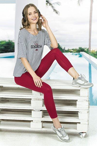 Kadın Pamuklu Sporcu Taytlı Pijama Takımı
