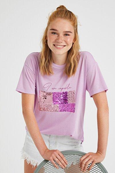 Kadın Lila T-Shirt 1YAK13246EK