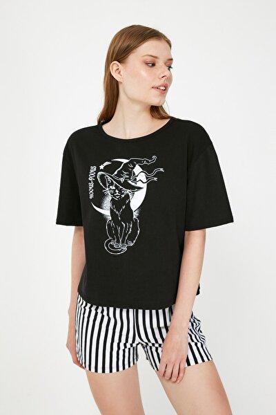 Siyah Çizgili Örme  Pijama Takımı THMSS21PT0600