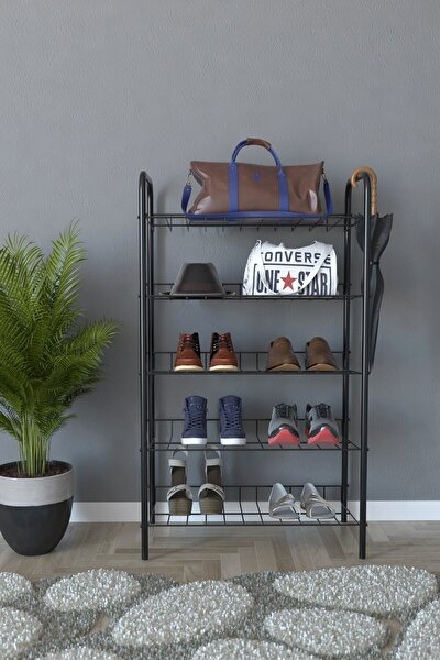 5 Raflı Ayakkabılık Metal Ayakkabılık Çok Amaçlı Dolap - Siyah