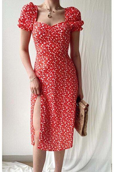 Kadın Midi Boy Çiçek Desenli Yırmaçlı Kırmızı Elbise - Kırmızı