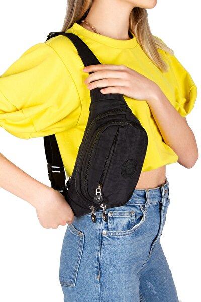 Unisex Siyah Krinkıl Çapraz Askılı Bel Omuz Çanta Göğüs Seyahet Günlük Bodybag