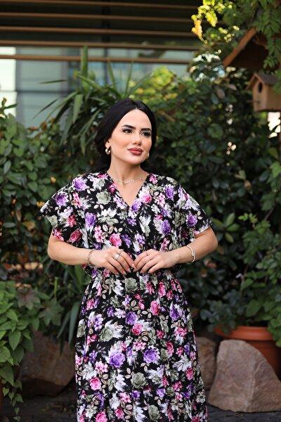Kruvaze Yaka Çiçek Desenli Yazlık Elbise