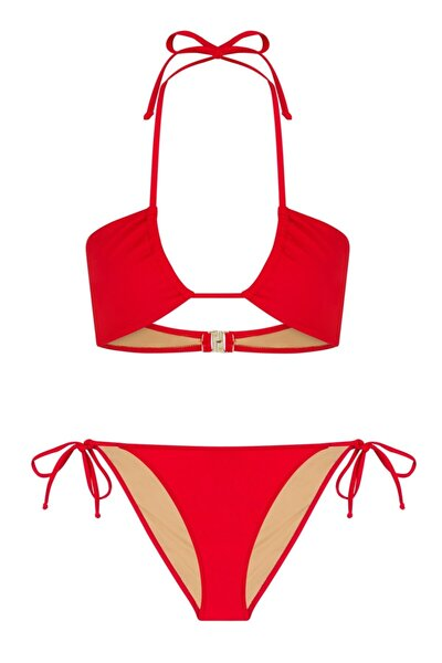 Halter Yaka Kırmızı Bikini Takım