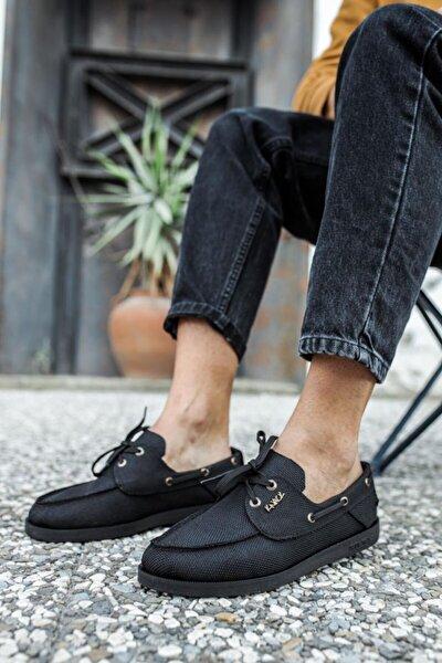 Erkek Siyah  Mevsimlik Keten Ayakkabı