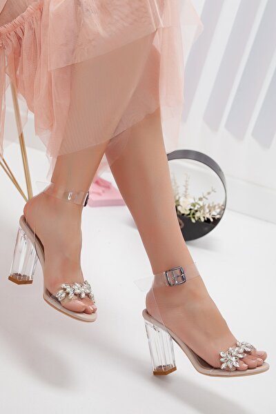 Madrid Şeffaf Taşlı Sandalet