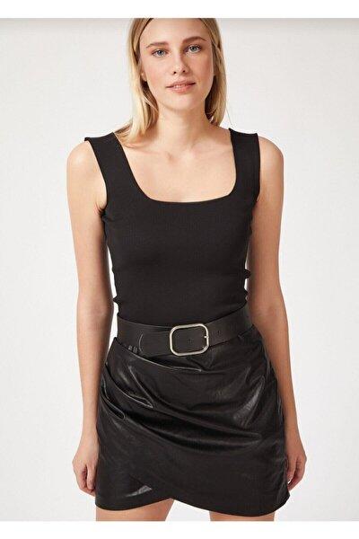 Kadın Siyah Giyim Kalın Askılı Triko Crop