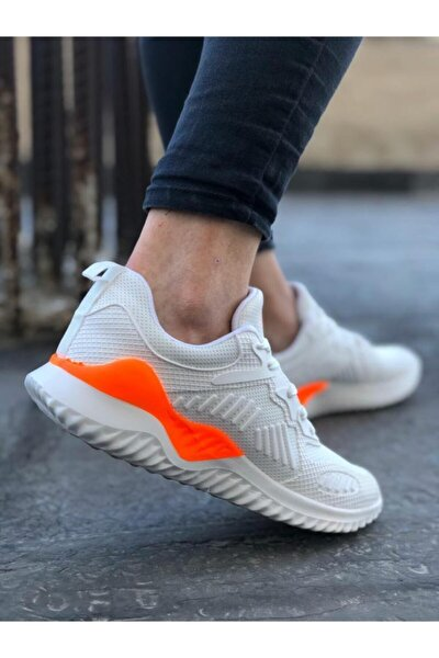 Beyaz-oranj Unisex Sneaker Spor Ayakkabı Takax0132