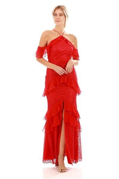 Kadın Kırmızı Dantelli Önden Yırtmaçlı Abiye Elbise