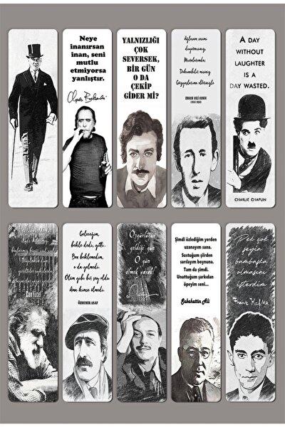 10'lu Kitap Ayraç Seti Atatürk Can Yücel Orhan Veli Kanık Charlie Chaplin Özdemir Asaf