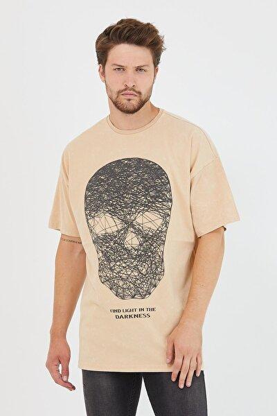 Erkek Parça Boya Baskılı Oversize Basic T-shirt Bej