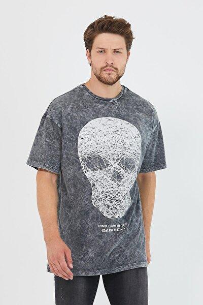 Erkek Parça Boya Baskılı Oversize Basic T-shirt Antrasit