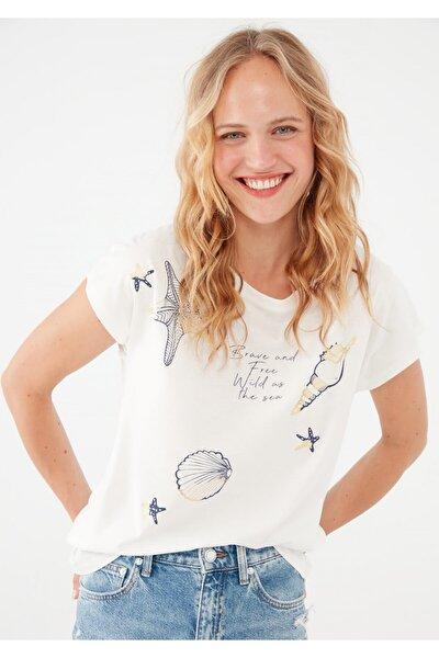 Deniz Yıldızı Baskılı Beyaz Tişört 1601181-620