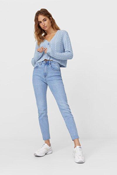 Kadın Mavi Yüksek Bel Slim Fit Jean 08479214