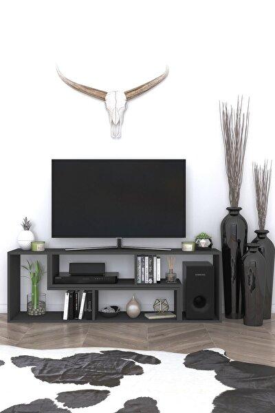Tetris Çok Amaçlı Fonksiyonel Siyah Tv Sehpası