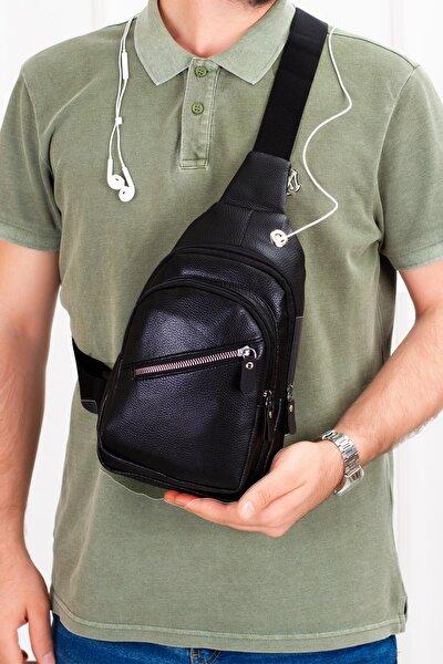 Unisex Siyah Deri Kulaklık Çıkışlı Çapraz Askılı Bel Omuz Çanta