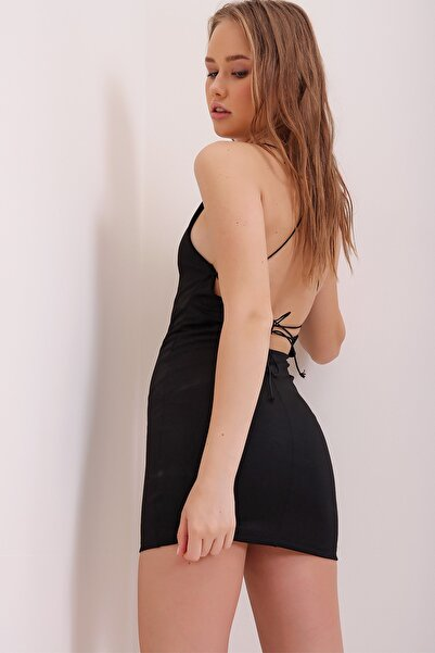 Kadın Siyah İp Askılı Sırt Dekolteli Mini Elbise ALC-X6663