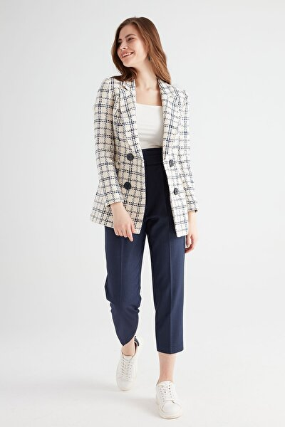 Kadın Lacivert Yüksek Bel Lastikli Pantolon
