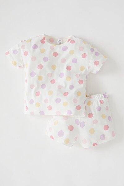 Kız Bebek Puantiyeli Kısa Kollu Pamuklu Pijama Takımı