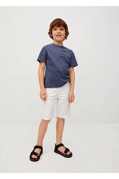 Erkek Çocuk Beyaz Düz Kesim Pamuklu Bermuda Şort