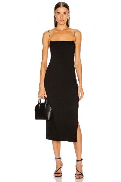 Kadın Düz Yaka Spagetti Askılı Yandan Yırtmaçlı Elbise 4574253