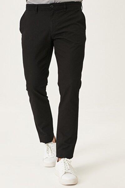 Erkek Siyah Kanvas Slim Fit Dar Kesim Yan Cep %100 Koton Chino Pantolon