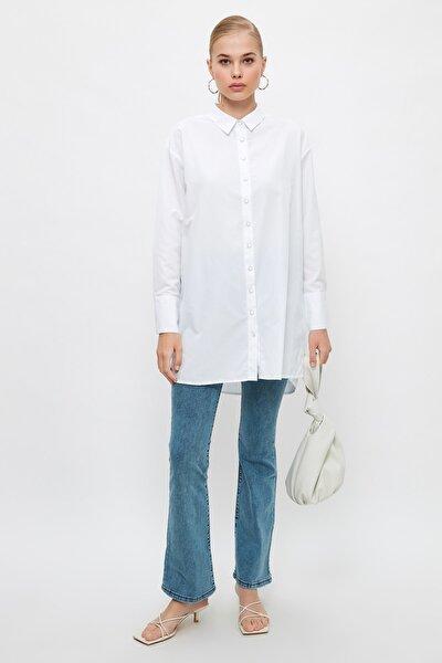 Beyaz Gömlek Yaka Dokuma Tesettür Tunik TCTSS21TN0424