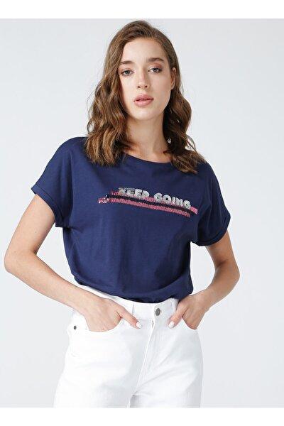 Bisiklet Yaka Lacivert Nakışlı Kadın T-shirt