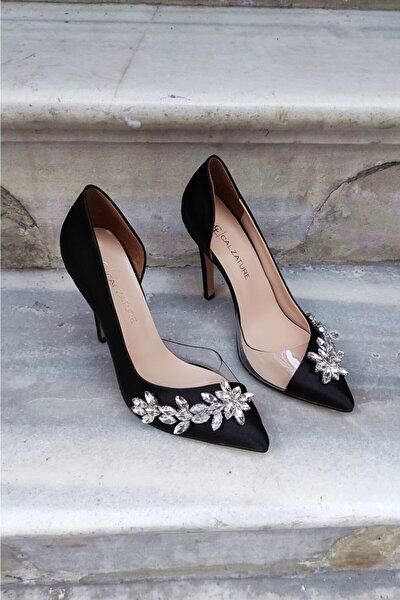Siyah Saten 11 Cm Şeffaf Su Yolu Topuklu Stiletto Kadın Ayakkabı