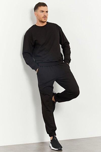 Siyah Erkek Casual O Yaka Oversize Lastik Paça Eşofman Takımı - 85120