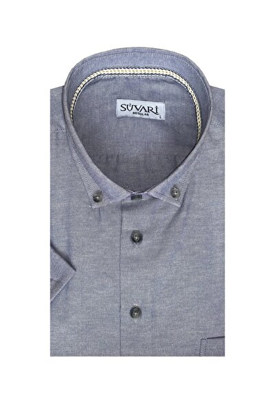 Erkek Bol Kesim Cepli Kısa Kol Gri Oxford Gömlek