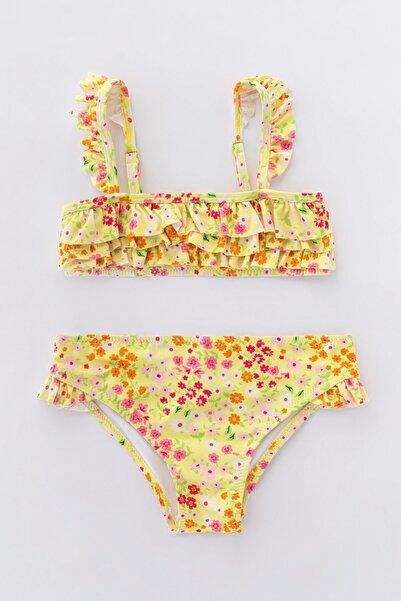 Çok Renkli Kız Çocuk Cute Flower Bikini Takımı