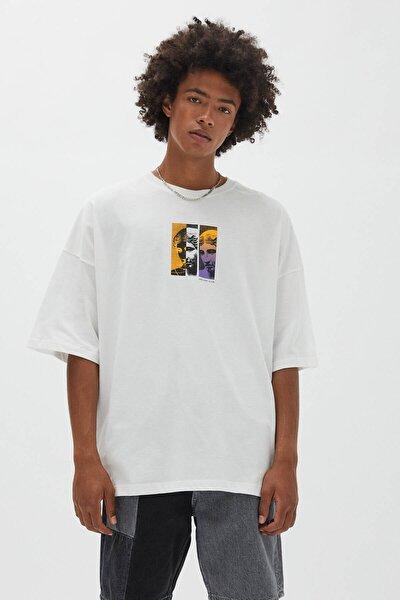 Beyaz Bol Kesim Stwd T-Shirt