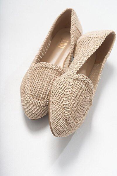 Kadın  Krem Örme Babet Ayakkabı