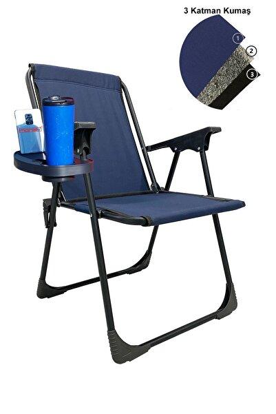 Katlanır Kamp Piknik Sandalyesi Plaj Koltuğu Katlanır Şezlong Ve Oval Bardaklık Lacivert