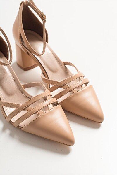Kadın Nut Cilt Topuklu Sandalet 437k235