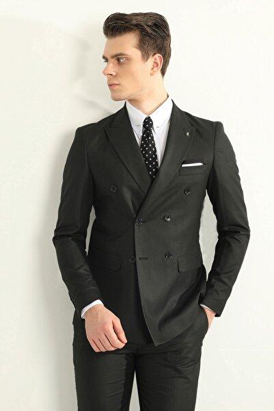 Siyah Kruvaze Erkek Takım Elbise - Slım Fıt