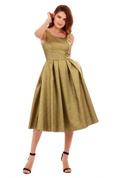 Kadın Yeşil Gold Simli Cepli Kısa Abiye Elbise