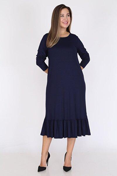 Lacivert Uzun Kollu Büyük Beden Elbise 12c-0787