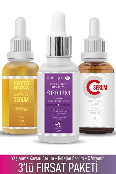 Üçlü Serum Paketi (Kolajen- C Vitamini - Sivilce, Akne ve Çatlak Serumu)