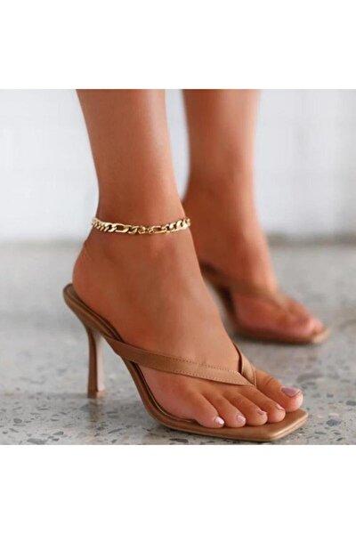 Kadın Nude Ten 10cm Topuklu Parmak Arası Küt Kare Burunlu Stiletto Ayakkabı Terlik Sandalet