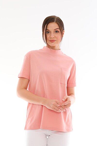 Pembe %100 Pamuk Dik Yaka Basic T-shirt