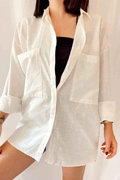 Kadın Ekru Büyük Cepli Oversize Gömlek