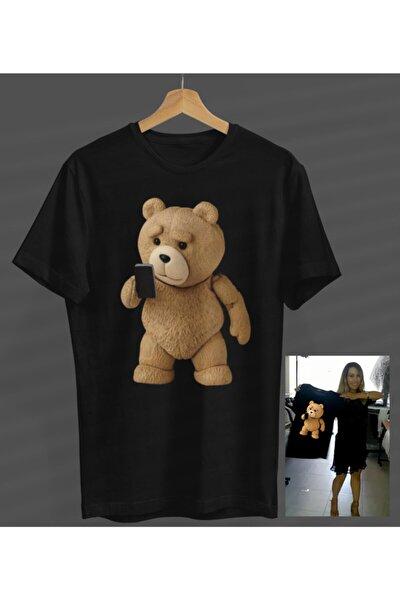 Unisex Kadın-erkek Siyah Teddy Ayıcık Tasarım Yeni Yuvarlak Yaka T-shirt