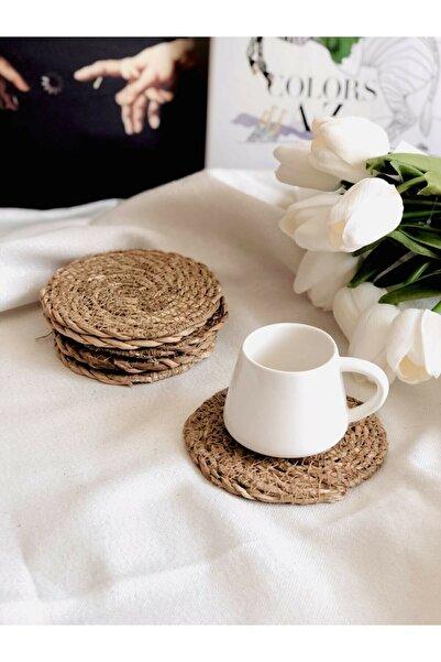 %100 Hasır 6'lı Bardak Altı 10 Cm Çay Fincan Kupa Mum Altlığı Yanmaz Doğal Natural El Örmesi